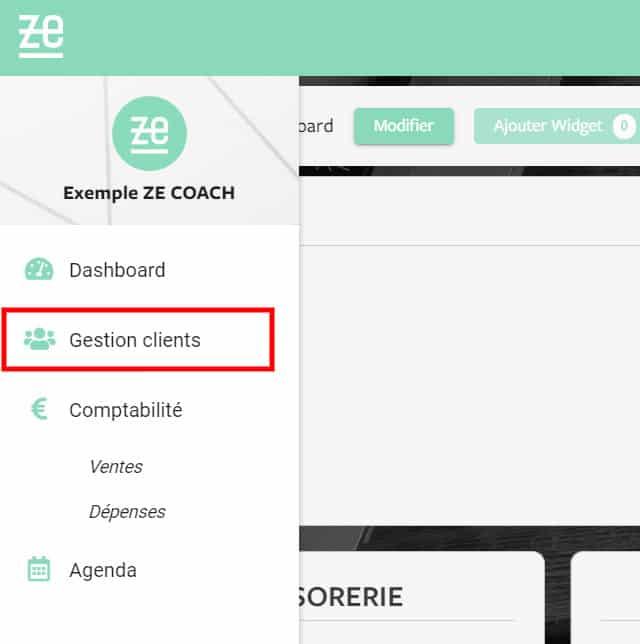 Logiciel Ze Coach - Menu Gestion Client